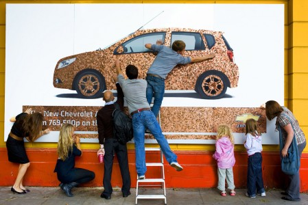 chevrolet aveo penny billboard 12 449x300 Billboards Made of Money