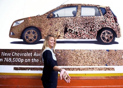 chevrolet aveo penny billboard 3 418x300 Billboards Made of Money