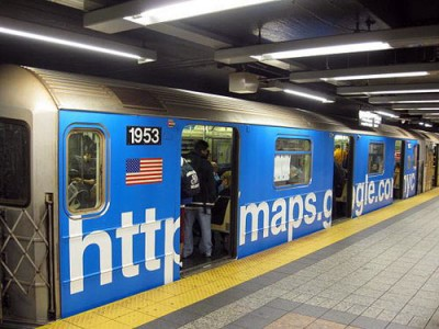 googlemetro2 400x300 Google advertises on New York MTA