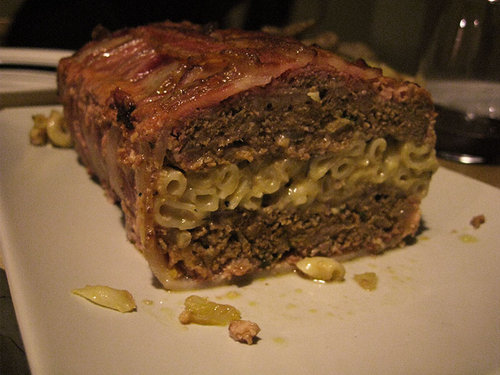 bacon wrapped meatloaf with maccheese filling This Is Why You Are Fat