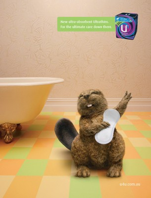 keep your beaver dry 305x400 Electric Art   Advertisers For Everyday Items...Even Kotex: Keep Your Beaver Dry