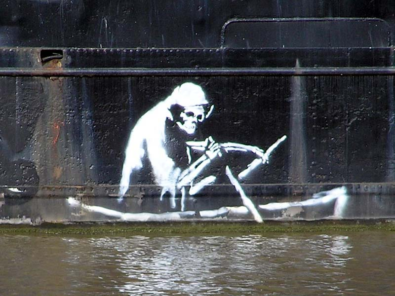 "graffiti artist banksy. ""Elusive Street Artist Banksy"