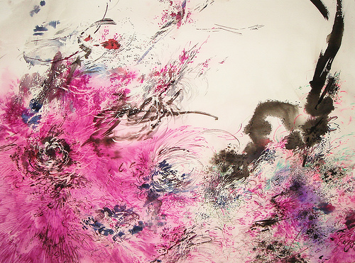 mia liu a dripping spring pen ink and acrylic on paper Mia Liu
